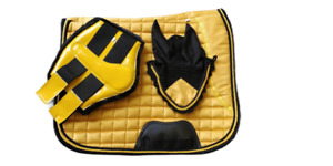 Suede Saddle Pad Set Matchy, Saddle Pad, Brushing Boots, Fly veil - Yellow, Pony