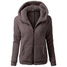 Korea Women Fur Coats Jackets Winter Warm Hooded Zipper Casual Long Sleeve brown