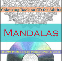 Colouring Books For Adults on CD 265 PDF PRINTABLE Pages Mandala Animals