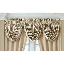 "Croscill DAPHNE Waterfall Swag Window Valance 48.5"" W Floral Jacquard on Ivory"