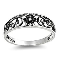 .925 Sterling Silver Ring size 5 Flower Midi Leaf Rose Kids Ladies New p05