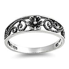.925 Sterling Silver Ring size 5 Flower Midi Leaf Rose Kids Ladies New p05