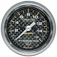 Auto Meter 4744 Carbon Fiber Full Sweep Electric EGT Pyro Gauge 0-1600 Degrees