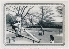 CAREFREE GIRLFRIENDS w CAMERA on PLAYGROUND SEE-SAW vtg AFFECTIONATE WOMEN photo