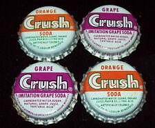 Lot of 4 Vintage Orange & Grape Crush Unused Soda Pop Bottle Caps Cork Lined