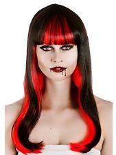 Adult Ladies Long Black Red Fringed Vampire Fantasy Wig Fancy Dress Halloween