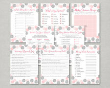 Blush Pink & Silver Glitter Dots Baby Shower Games Pack - 8 Printable Games