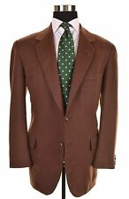 Oxxford Clothes Solid Brown Emperors 100% CASHMERE Sport Coat Jacket 42