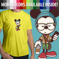 Hipster Disney Cool Mickey Mouse Disneyland Unisex Mens Tee Crew Neck T-Shirt