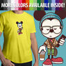 Hipster Disney Cool Mickey Mouse Disneyland Unisex Mens Tee Crew Neck T-Shirt