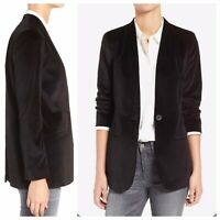 Madewell Size 2 One Button Closure Black Lauren Velvet Blazer Jacket Fully Lined