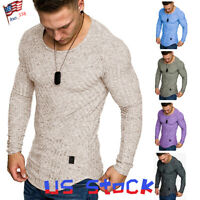 Fashion Men T-Shirts Long Sleeve Casual Muscle Hipster Blouse Slim Fit Tops US
