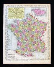1857 Desilver Map France Paris Marseilles Bordeaux Chartres Calais Corsica Laon