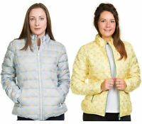 Ladies Padded Jacket Down Feather Lining Lightweight Blue Yellow Floral Zip Coat