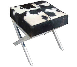 Indian Handmade genuine Black and White Hairy Leather With Stainless Steel Stool