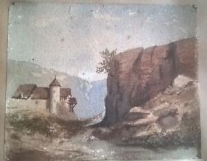 BOUDEVILLE AQUARELLE DEBUT XIXe PAYSAGE CHATEAU SUD (ITALIE-ESPAGNE)