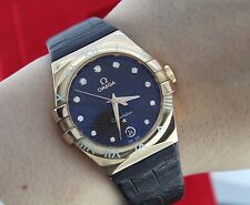 $15,000 Omega 18K Rose Gold 35mm Constellation Chocolate Griffes Diamond Watch