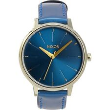 NEW Nixon A1081395 Women's Kensington Sunray Dial Blue Patent Leather Gold Watch
