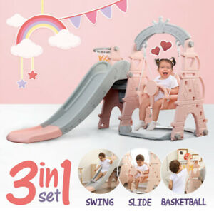 3-in-1 Toddler Climber Slide Swing Set Kids Indoor/Outdoor Playground Play Toy