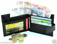 MENS ULTRA SLIM REAL LEATHER CREDIT CARD NOTE WALLET ZIP COIN POCKET PURSE - 421