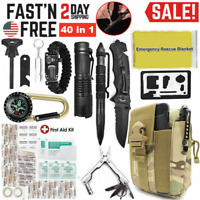 Outdoor Survival Kit 40-in-1 Tactical Camping Backpack Emergency EDC Tools Bag