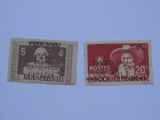 2 Indochina Indochine Vietnam Stamps Overprint