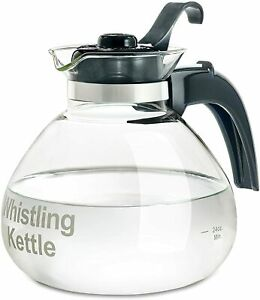 Tea Kettle Pot 12-Cup Glass Electric Gas Stovetop Whistle Lid Stove Boil Water .