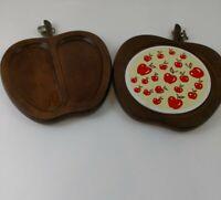 Vintage 1970's Wooden Serving Trays With Ceramic Tile Apple Shaped Set Of 2