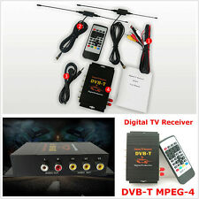 DC12V Autos Mobile Digital HD DVB-T MPEG4 TV Receiver Box Tuner Dual Antenna Kit