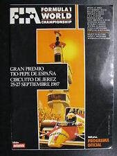 Program Gran Premio Tio Pepe de España Circuit de Jerez 1987 ( Formule 1 ) (PBE)