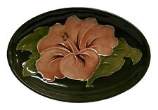 Moorcroft Green/Pale Red Hibiscus Small Oval Dish 30243