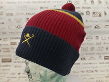 HACKETT Beanie Men's IVY Turn-up Bobble Hat Multi Block Wool Rib Skull Cap New