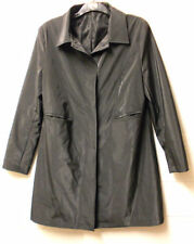 Knee Length Button Patternless PVC Coats & Jackets for Women
