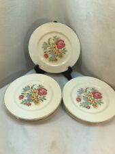 "Vtg 8pc 30's Harker Pottery 7.25"" Luncheon Plate Needlepoint Cottage Rose Flower"