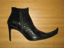 Manry Black Snakeskin Ankle Boots Booties High Heel Size 8 NIB Very Pointy Toe