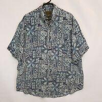 Vtg Evergreen by Nordstroms Hawaiian Aloha Tapa Print Linen Shirt Sz L XL