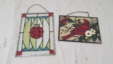 2 Vintage Painted Glass Cardinal Bird & Ladybug Suncatchers