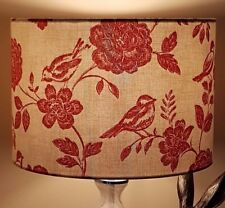 HANDMADE FABRIC LAMPSHADE 30cm RED ILIV BIRD GARDEN COTTAGE COUNTRY FARM FLORAL