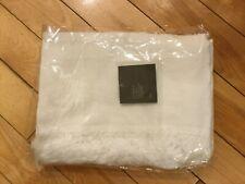 "Restoration Hardware Sarita Washed Linen Fringed Throw Blanket White 50"" x 70"""