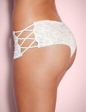 White Cross over Sides French Knickers Boxers boy shorts Underwear Size UK 10-12