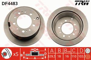 TRW Brake Rotor Rear DF4483S fits Toyota Land Cruiser 100 Series 4.2 TD (HDJ1...