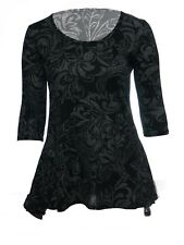 Womens New Grey Black Floral Print Dipped Hem Tunic Top Plus Size 12 To 26 BNWT