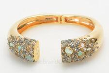 Alexis Bittar gold plated pave crystal quartz stone hinge cuff bracelet $455