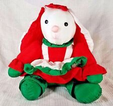 Vintage 1989 Fiesta Nylon Green Red White BUNNY RABBIT Plush 11""