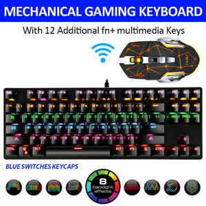 Computer Desktop Gaming Keyboard and Mouse Mechanical Led Light Rainbow For PS4