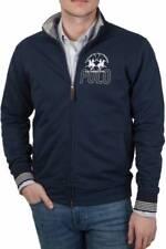 LA MARTINA Sweatshirt Reißverschluss LMF602 Palermo Polo Season Blau Cotton Mode