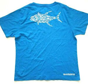 Men's Shimano Blue T Shirt Fish Design Size L.
