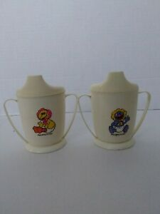Vintage 1970-80 MUPPETS Sesame Street BABY BIG BIRD and BABY GROVER SIPPY CUPS