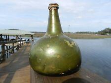 Dutch Onion Bottle 1690-1720 Olive Green String Lip Iridescence Beaufort SC