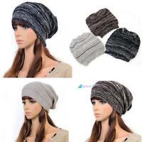 Unisex Men Women's Knit Baggy Beanie Beret Hat Winter Warm Crochet Ski Cap Y@